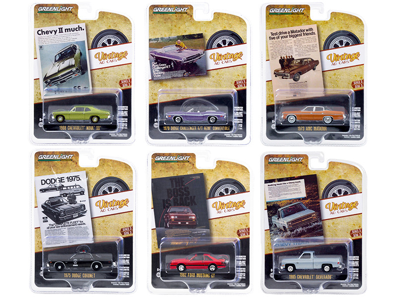 Vintage Ad Cars Set of 6 pieces Series 3 1/64