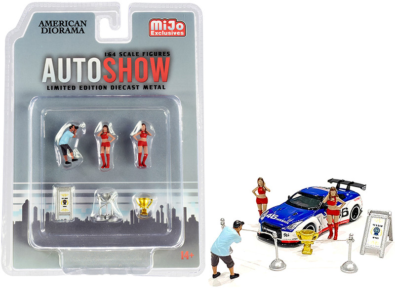 Auto Show Diecast Set of 6 pieces (3 Figurines and 3 Accessories) for 1/64