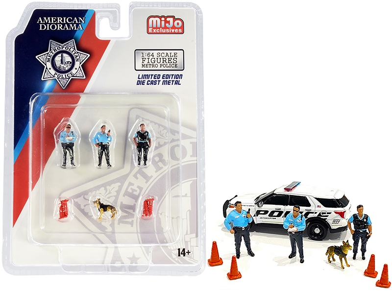 Metropolitan Police 8 piece Diecast Set (3 Figurines and 1 Dog and 4 Accessories) for 1/64