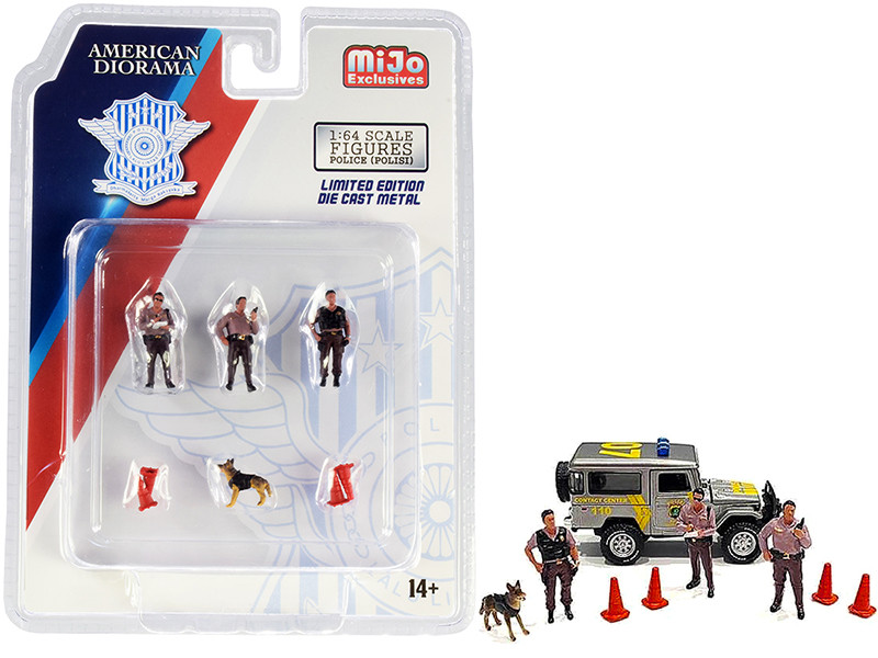 Indonesia Police 8 piece Diecast Set (3 Figurines and 1 Dog and 4 Accessories) for 1/64