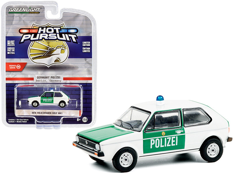 """1974 Volkswagen Golf Mk1 """"Polizei"""" Berlin (Germany) Police Car White and Green """"Hot Pursuit"""" Series 36 1/64"""
