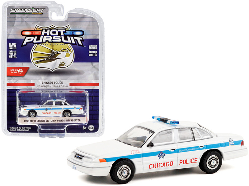 """1995 Ford Crown Victoria Police Interceptor White with Blue Stripes """"City of Chicago Police Department"""" """"Hot Pursuit"""" Series 36 1/64"""