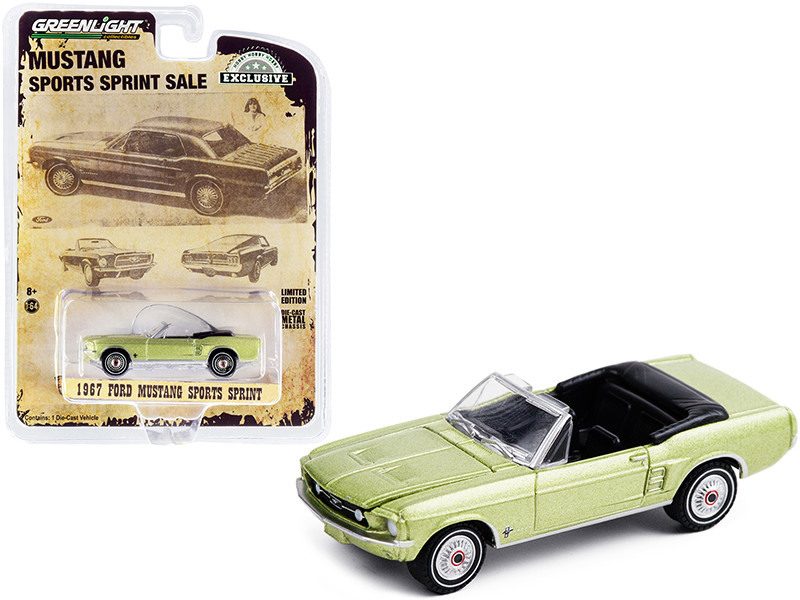 """1967 Ford Mustang Sports Sprint Convertible Lime Gold Metallic """"Hobby Exclusive"""" 1/64"""