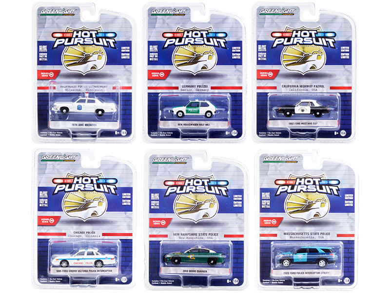 Hot Pursuit Set of 6 Police Cars Series 36 1/64