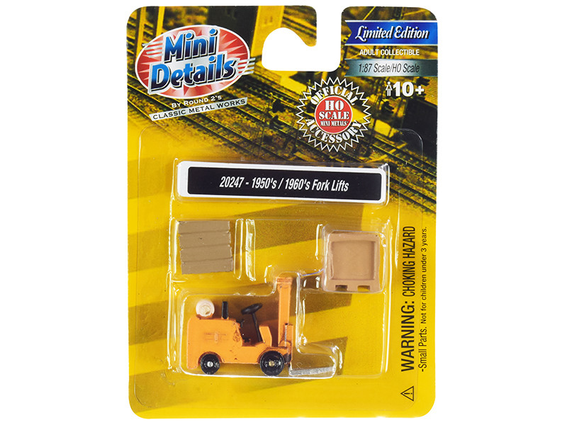 1950's-1960's Forklift Truck Yellow with Accessories 1/87 (HO)