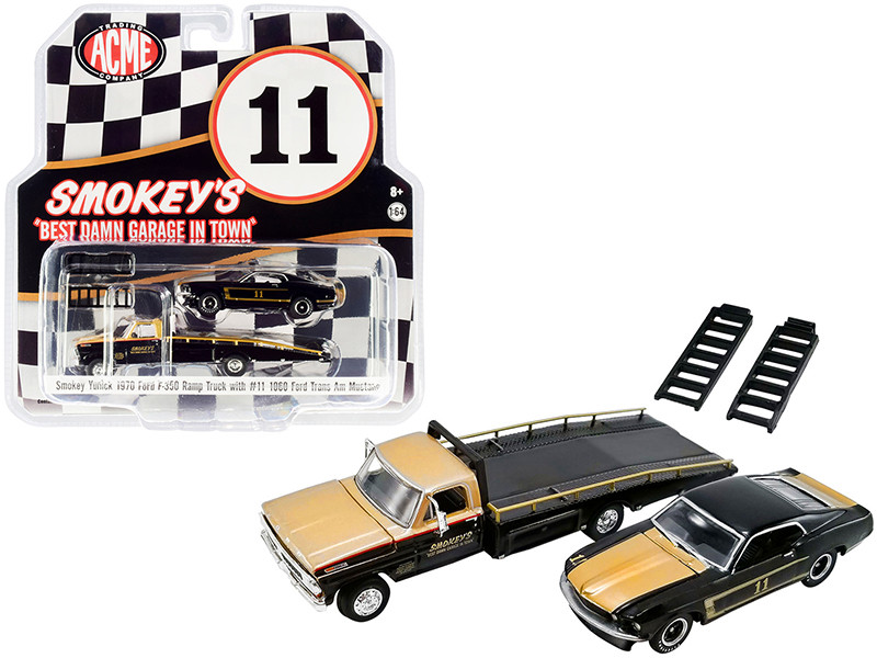 """1970 Ford F-350 Ramp Truck and 1969 Ford Trans Am Mustang #11 Black and Gold """"Smokey\'s Yunick"""" """"ACME Exclusive"""" 1/64 for ACME"""