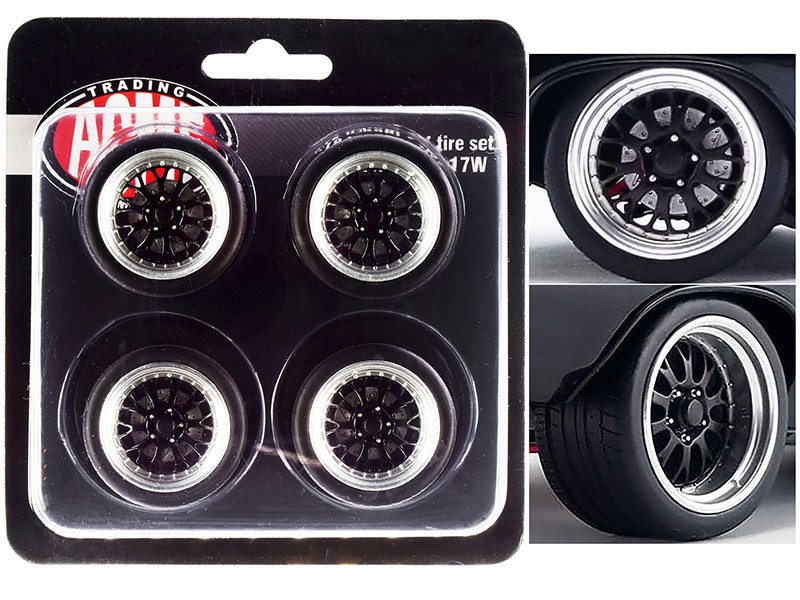 """Street Fighter Pro Touring Wheel and Tire Set of 4 pieces from """"1970 Chevrolet Chevelle 454 SS Street Fighter G-Force"""" 1/18"""