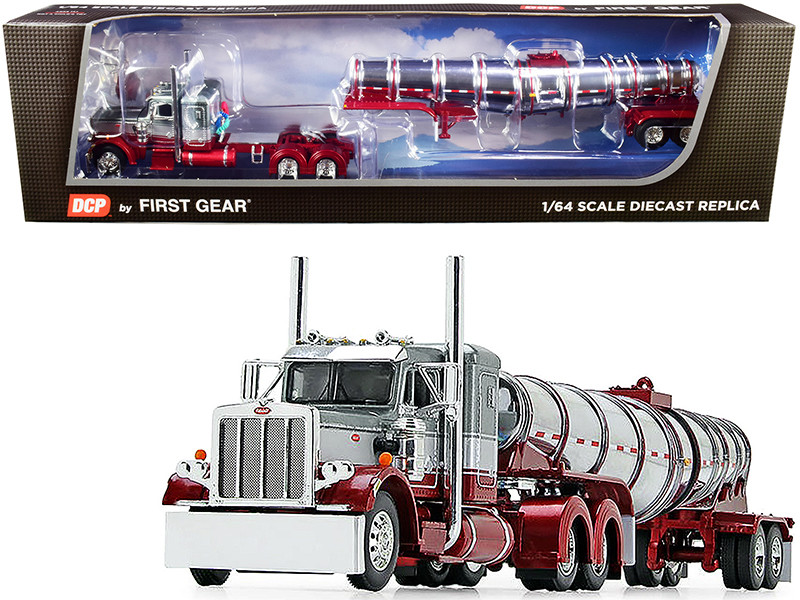 """Peterbilt 359 Day Cab Glacier Silver and Coral Red with Chrome 36"""" Sleeper Bunk and Polar Deep Drop Tank Trailer 1/64"""