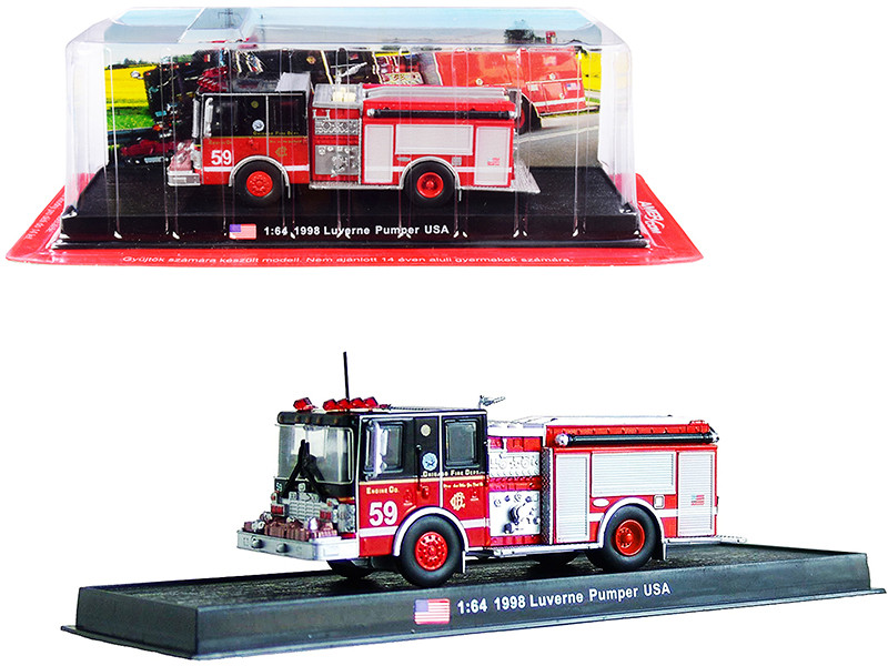 """1998 Luverne Pumper Fire Engine Red and Black """"Chicago Fire Department"""" (Illinois) 1/64"""