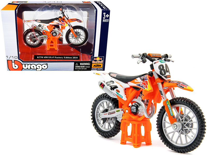 """KTM 450 SX-F #84 """"Red Bull"""" Factory Edition 2018 1/18 Diecast Motorcycle Model by Bburago"""