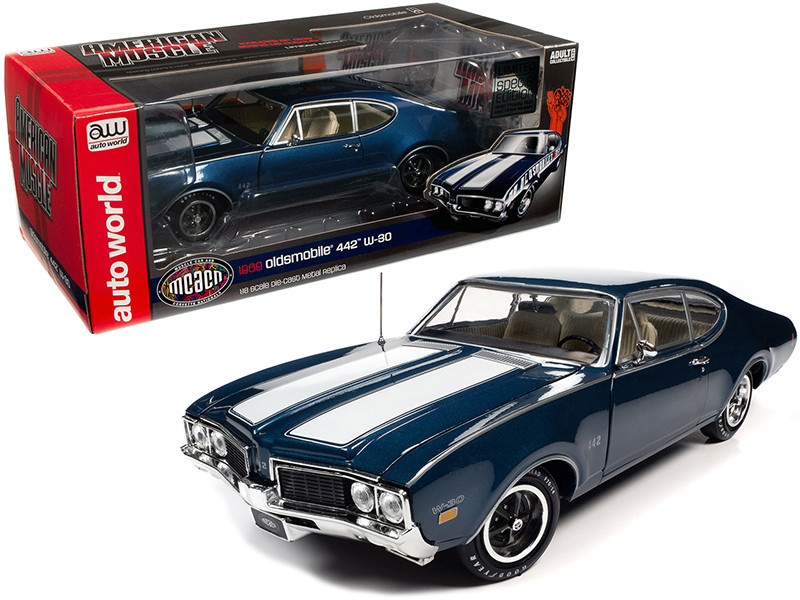 """1969 Oldsmobile 442 W-30 Coupe Trophy Blue Metallic with White Stripes """"Muscle Car & Corvette Nationals"""" (MCACN) 1/18"""