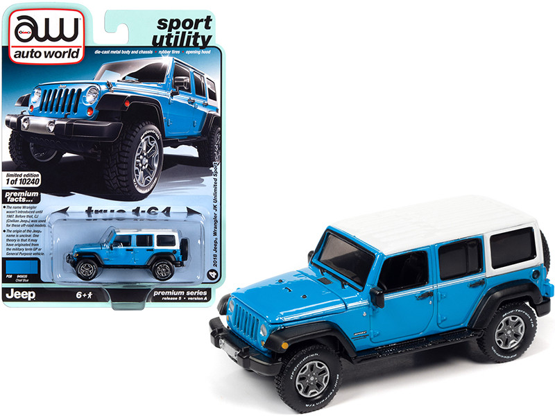 """2018 Jeep Wrangler JK Unlimited Sport Chief Blue with White Top and White Stripes """"Sport Utility"""" 1/64"""