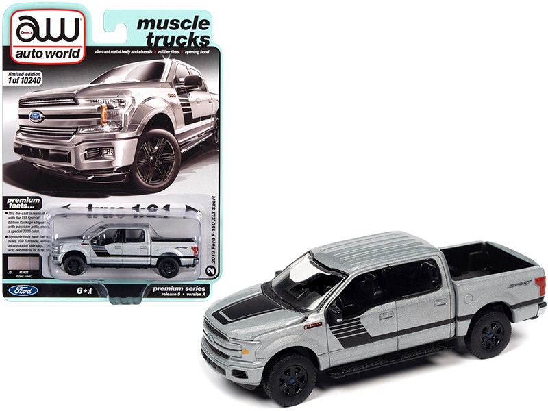 """2019 Ford F-150 XLT Sport Pickup Truck Iconic Silver Metallic with Black Stripes """"Muscle Trucks"""" 1/64"""