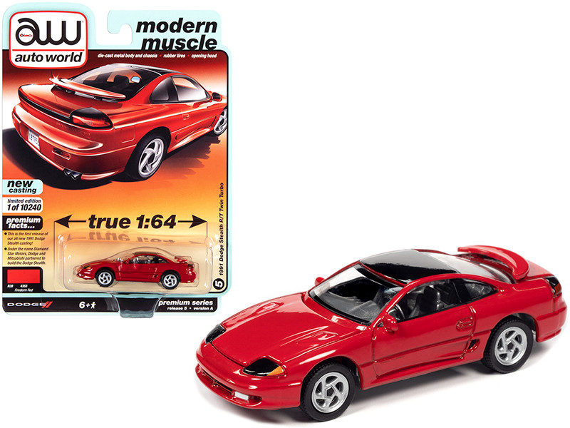 """1991 Dodge Stealth R/T Twin Turbo Firestorm Red with Black Top """"Modern Muscle"""" 1/64"""
