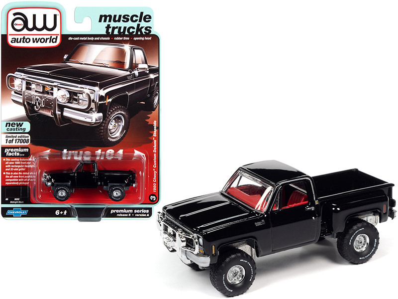 """1980 Chevrolet Custom Deluxe Stepside Pickup Truck Midnight Black with Red Interior """"Muscle Trucks"""" 1/64"""