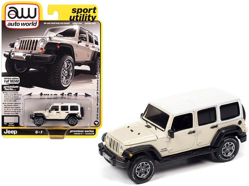 """2018 Jeep Wrangler JK Unlimited Sport Gobi Beige with White Top and White Stripes """"Sport Utility"""" 1/64"""