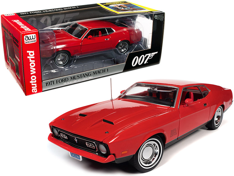 """1971 Ford Mustang Mach 1 Bright Red with Red Interior (James Bond 007) """"Diamonds are Forever"""" (1971) Movie 1/18"""