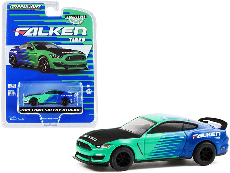 """2019 Ford Mustang Shelby GT350R """"Falken Tires"""" Green and Blue with Carbon Hood """"Hobby Exclusive"""" 1/64"""