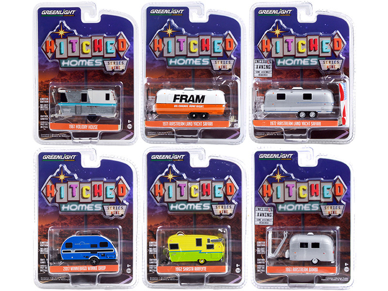 Hitched Homes 6 piece Travel Trailers Set Series 9 1/64 Diecast Models by Greenlight