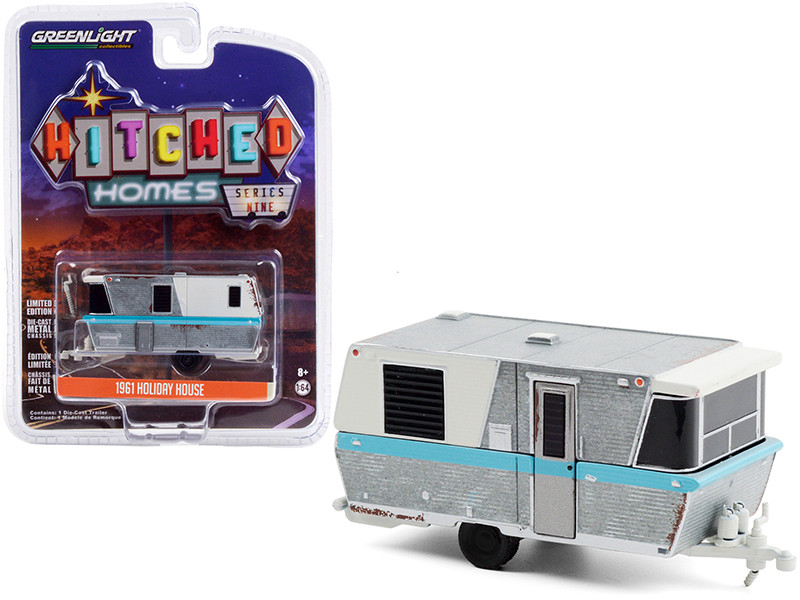 """1961 Holiday House Travel Trailer Silver and White with Blue Stripe (Weathered) """"Hitched Homes"""" Series 9 1/64"""