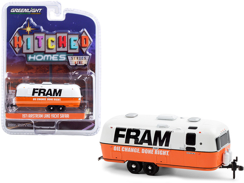 """1971 Airstream Land Yacht Safari Travel Trailer White and Orange """"FRAM Oil Filters"""" """"Hitched Homes"""" Series 9 1/64"""