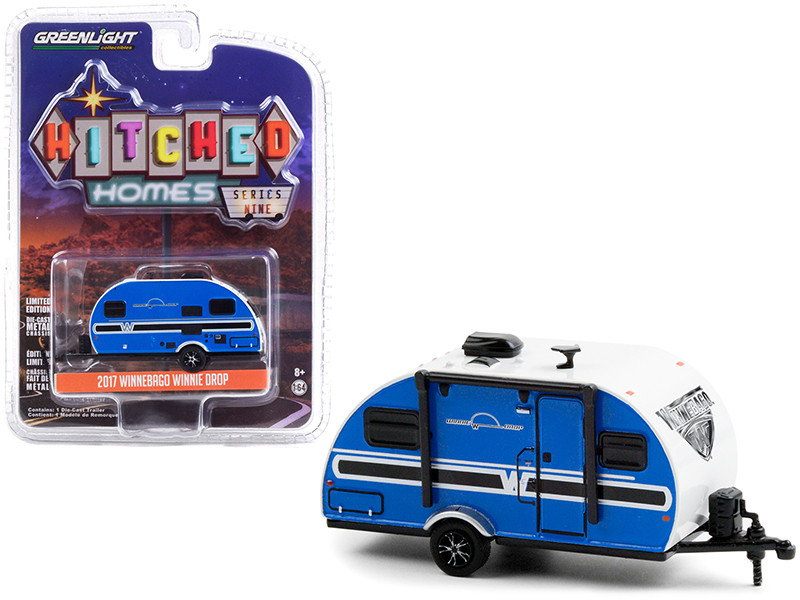 """2017 Winnebago Winnie Drop Travel Trailer Blue and White """"Hitched Homes"""" Series 9 1/64"""