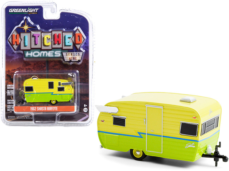 """1962 Shasta Airflyte Travel Trailer Yellow and Green with Blue Stripe """"Hitched Homes"""" Series 9 1/64"""