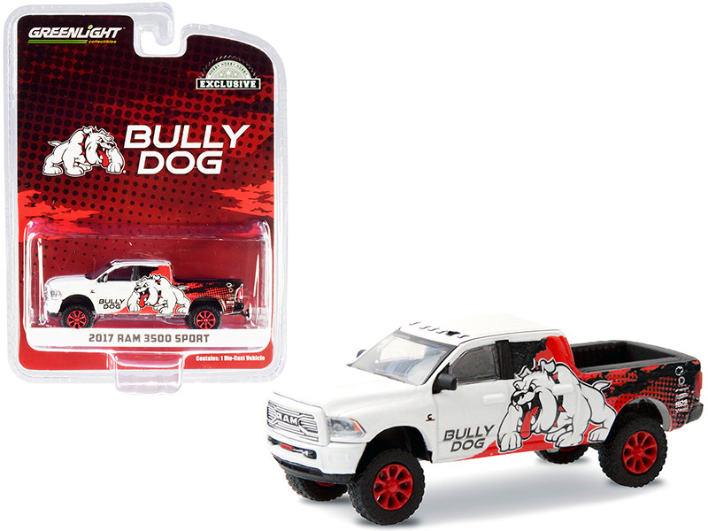 """2017 RAM 3500 Sport Pickup Truck """"Bully Dog"""" White with Black and Red Graphics """"Hobby Exclusive"""" 1/64"""