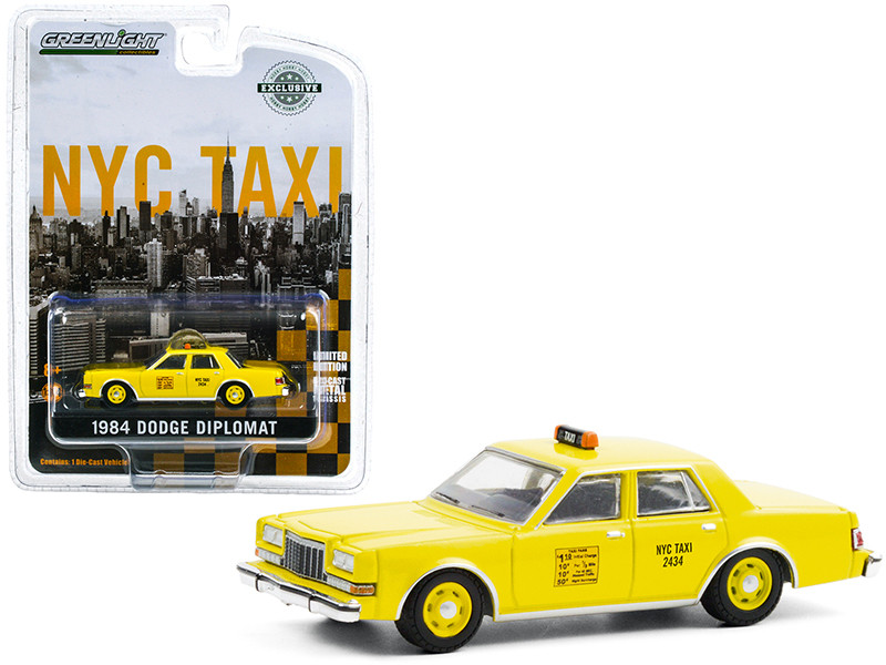 """1984 Dodge Diplomat Yellow """"NYC Taxi"""" (New York City) """"Hobby Exclusive"""" 1/64"""