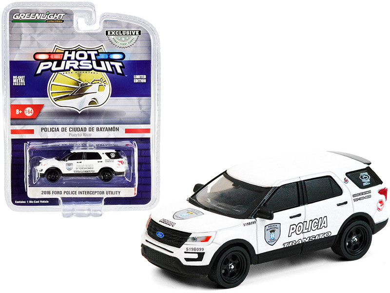 """2016 Ford Police Interceptor Utility White """"Policia Transito"""" Bayamon City Police Department (Puerto Rico) """"Hot Pursuit"""" Series 1/64"""