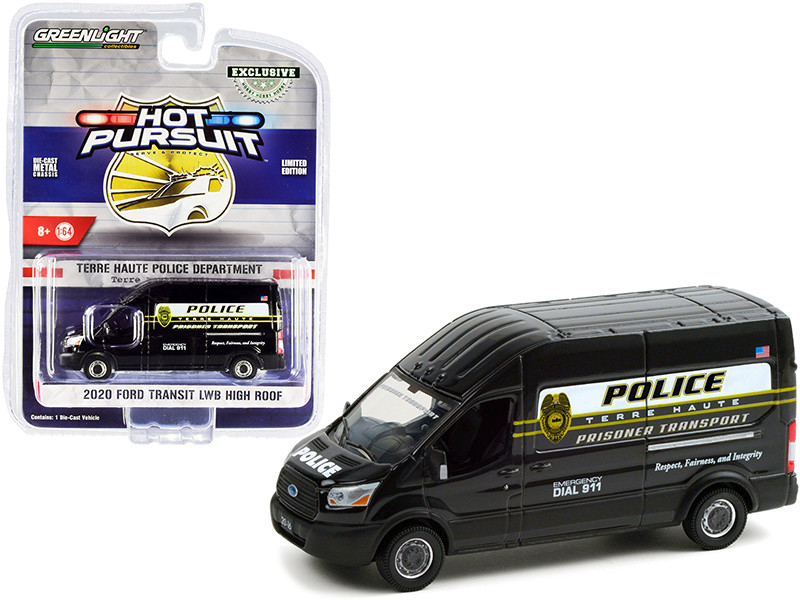 """2020 Ford Transit LWB High Roof Van Terre Haute Police Prisoner Transport """"Terre Haute Police Department"""" (Indiana) """"Hot Pursuit"""" Series 1/64"""