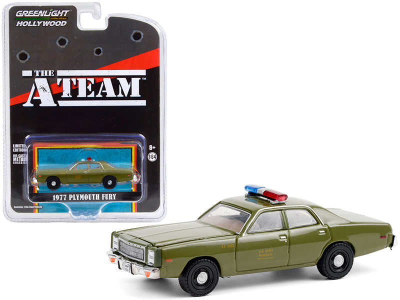 """1977 Plymouth Fury """"U.S. Army Police"""" Army Green """"The A-Team"""" (1983-1987) TV Series """"Hollywood Special Edition"""" 1/64"""