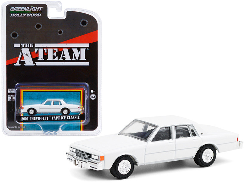 """1980 Chevrolet Caprice Classic White """"The A-Team"""" (1983-1987) TV Series """"Hollywood Special Edition"""" 1/64"""