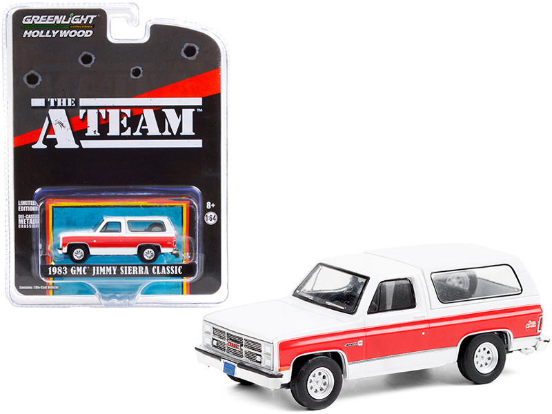"""1983 GMC Jimmy Sierra Classic White with Red Stripes """"The A-Team"""" (1983-1987) TV Series """"Hollywood Special Edition"""" 1/64"""