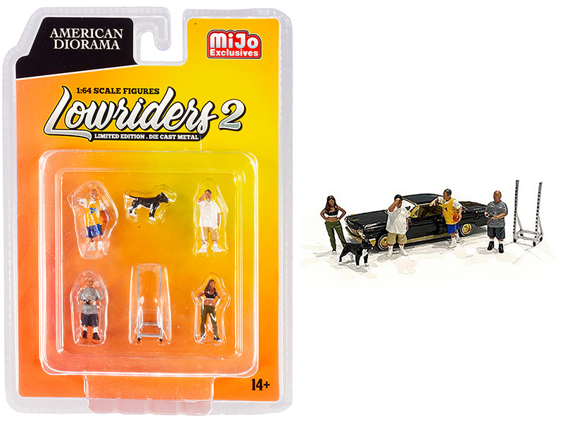Lowriders 2 6 piece Diecast Set (4 Figurines and 1 Dog and 1 Accessory) for 1/64