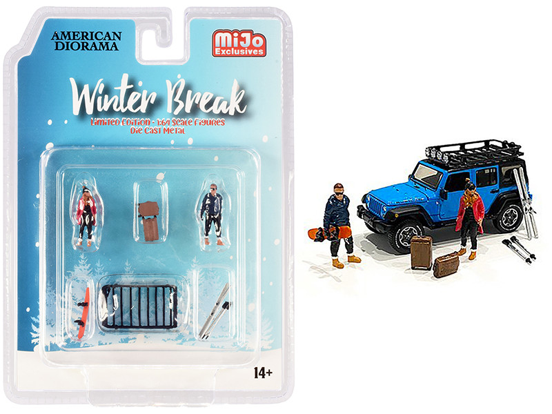 Winter Break Diecast Set of 6 pieces (2 Figurines and 4 Accessories) for 1/64