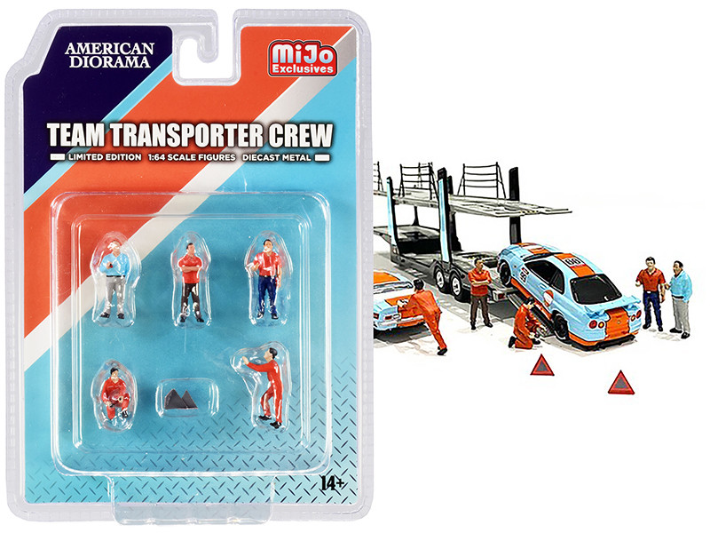 Team Transporter Crew Diecast Set of 6 pieces (5 Figurines and 2 Warning Triangles) for 1/64