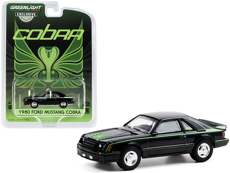 """1980 Ford Mustang Cobra Black with Green Cobra Hood Graphics and Stripe Treatment """"Hobby Exclusive"""" 1/64"""