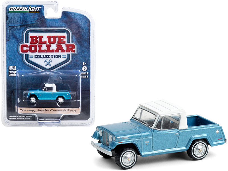 """1970 Jeep Jeepster Commando Pickup Truck Light Blue Metallic with White Top """"Blue Collar Collection"""" Series 8 1/64"""