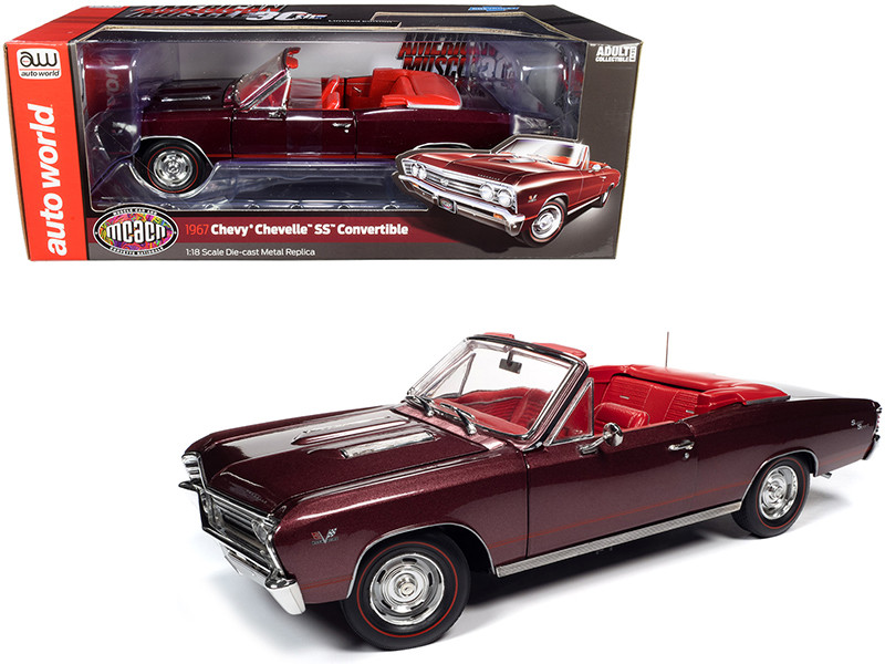 """1967 Chevrolet Chevelle SS 396 Convertible Madiera Maroon Metallic with Red Interior """"Muscle Car & Corvette Nationals"""" (MCACN) 1/18"""