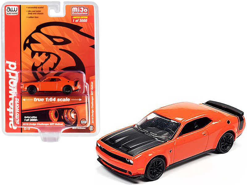 2019 Dodge Challenger SRT Hellcat Orange with Black Hood and Tail Stripe Limited Edition to 3000 pieces Worldwide 1/64