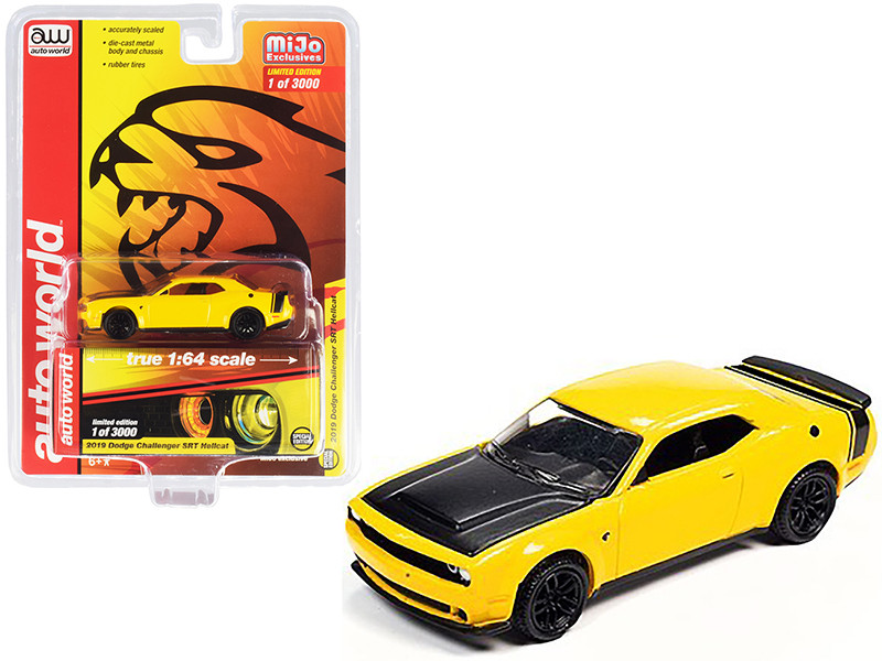 2019 Dodge Challenger SRT Hellcat Yellow with Black Hood and Tail Stripe Limited Edition to 3000 pieces Worldwide 1/64