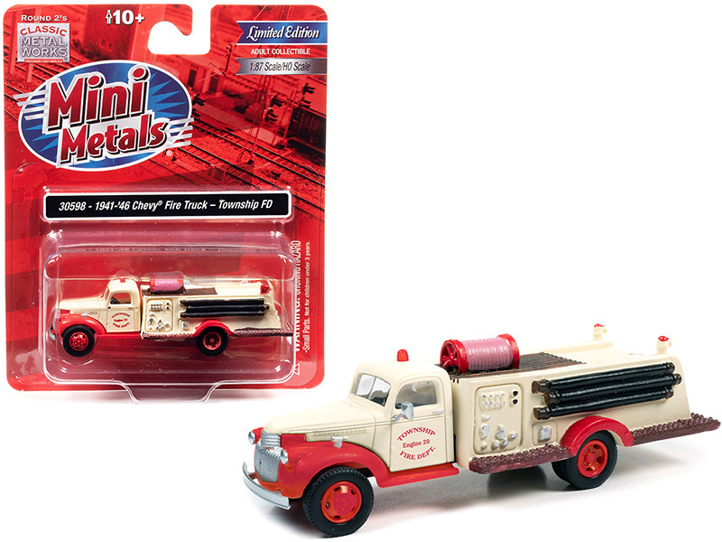 """1941-1946 Chevrolet Fire Truck """"Township Fire Department"""" Cream and Red 1/87 (HO)"""
