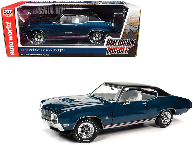 """1970 Buick GS 455 Stage 1 Hardtop Diplomat Blue Metallic with Black Top and White Interior """"Hemmings Muscle Machines"""" Magazine Cover Car (July 2019) 1/18"""
