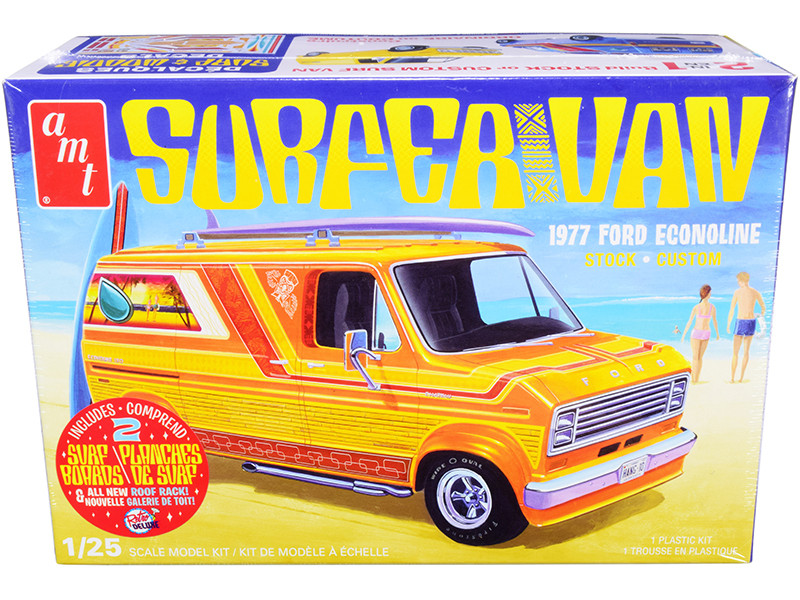 1977 Ford Econoline Surfer Van with Two Surfboards 2-in-1 Kit 1/25 Skill 2 Model Kit
