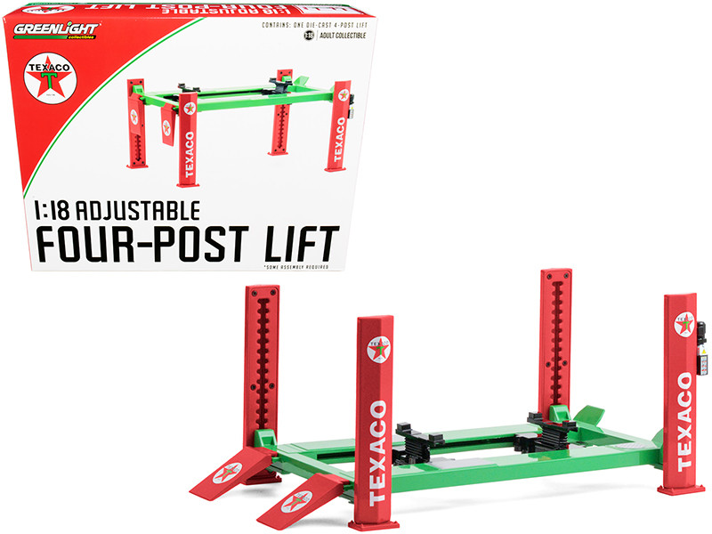 """Adjustable Four Post Lift """"Texaco"""" for 1/18 Scale"""
