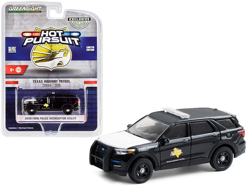 """2020 Ford Police Interceptor Utility """"Texas Highway Patrol"""" Black with White Hood """"Hot Pursuit"""" Series 1/64"""