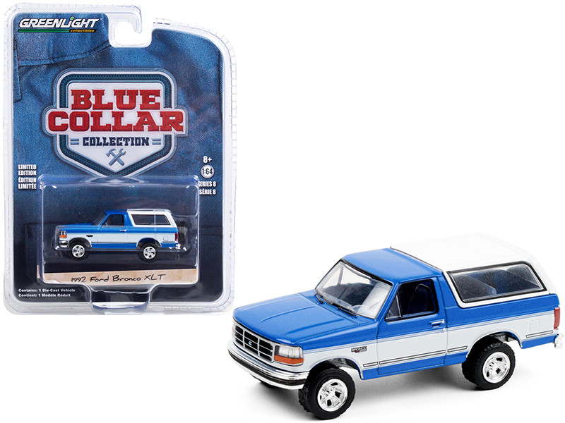 """1992 Ford Bronco XLT Bright Regatta Blue and White """"Blue Collar Collection"""" Series 8 1/64"""