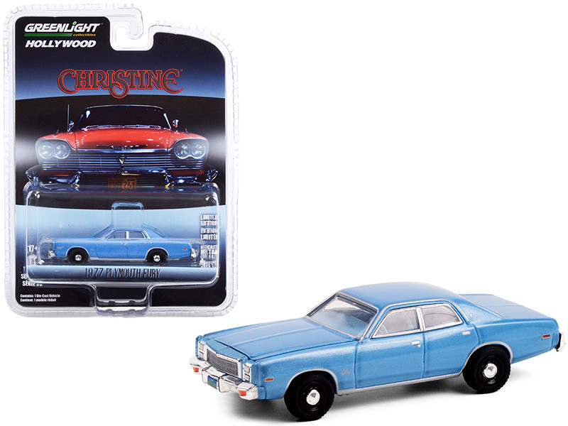 """1977 Plymouth Fury Steel Blue (Detective Rudolph Junkins\') """"Christine"""" (1983) Movie """"Hollywood Series"""" Release 30 1/64"""