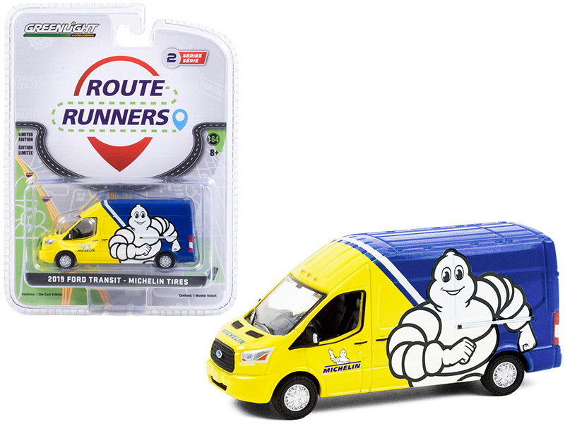 """2019 Ford Transit LWB High Roof Van Yellow and Blue """"Michelin Tires"""" """"Route Runners"""" Series 2 1/64"""